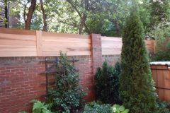 #20 Cedar Horizontal Fence on Brick Wall