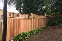 #25 Cedar 1x6 Solid Board Fence with 2x2 Topper, Stepped