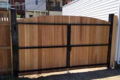 Cedar Flatboard Steel Framed Double Gate (Back View)