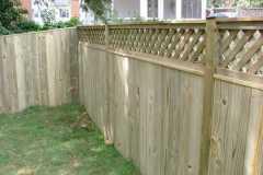 #7 Pressure Treated Pine Flatboard Fence with Diagonal Lattice